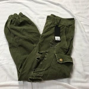 LF Carmar olive army green distressed joggers